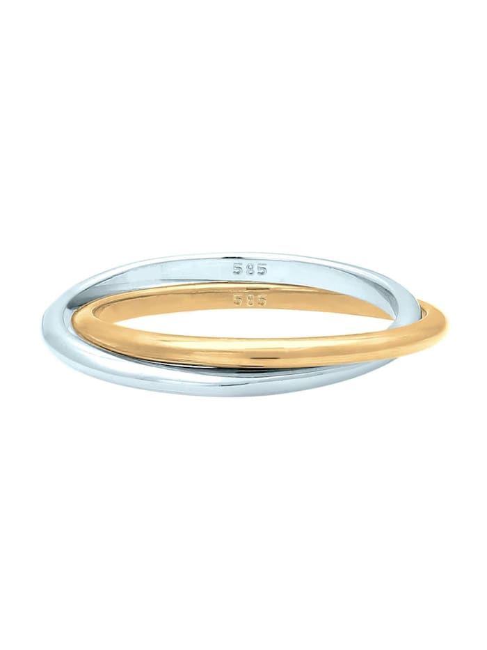 Ring Wickelring Bi-Color Zeitlos 585 Gelbgold Weißgold