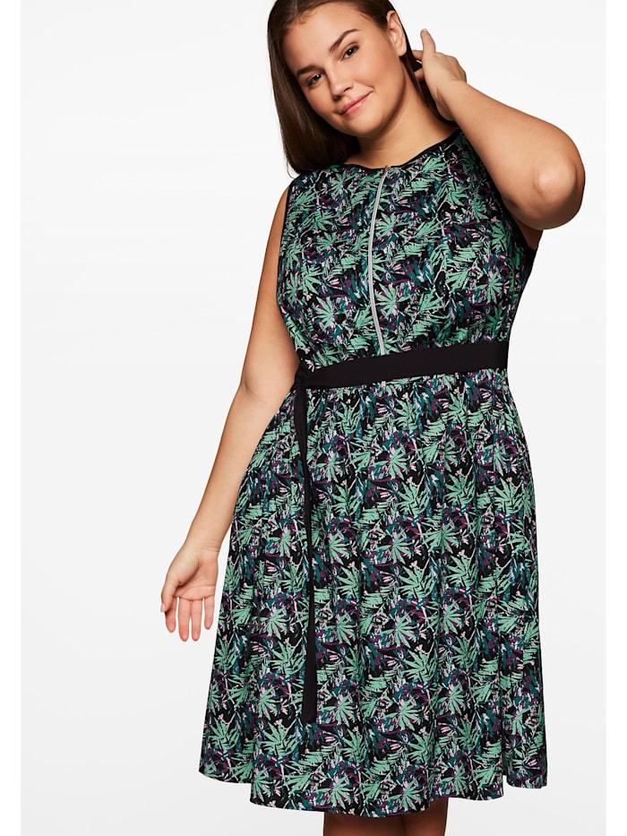 Sheego Sheego Kleid mit floralem Alloverdruck, schwarz gemustert
