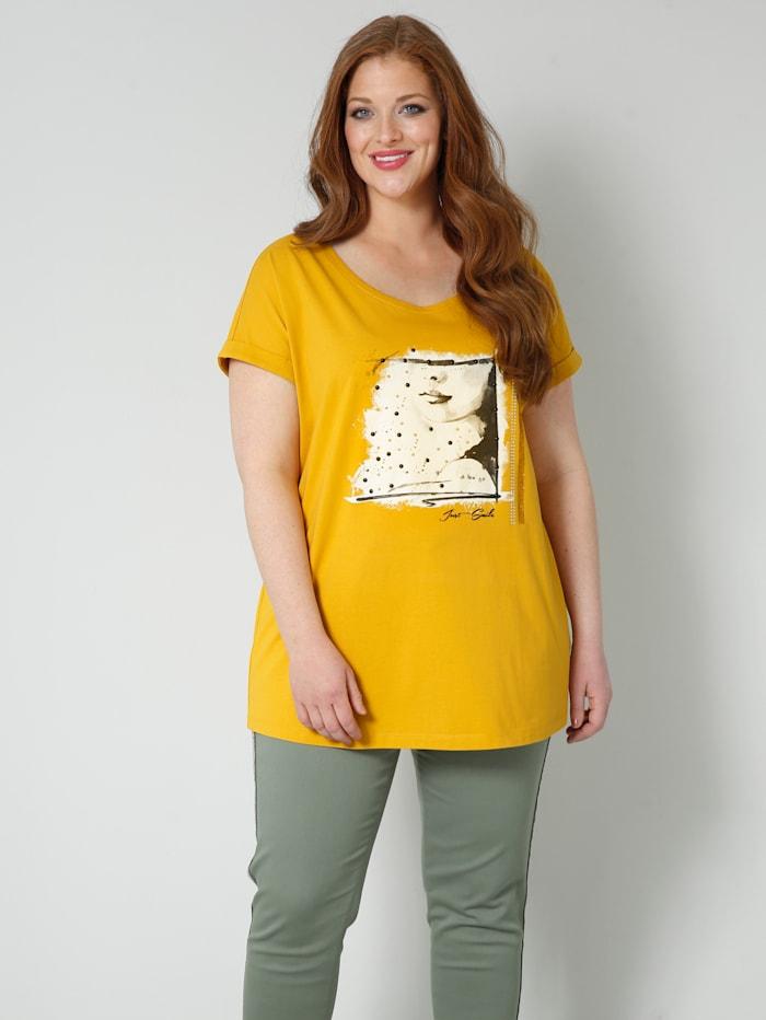 Sara Lindholm Shirt mit farbigen Dekosteinchen, Gelb