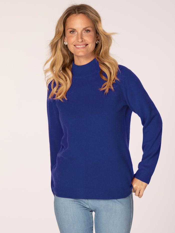 MONA Kaschmir-Pullover mit Stehkragen, Royalblau