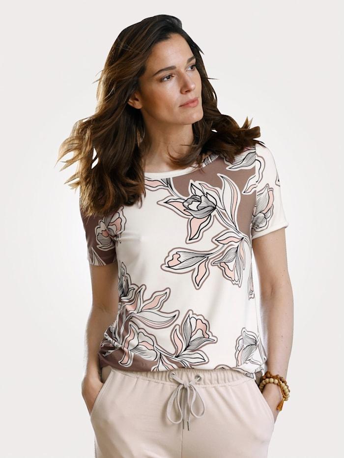 MONA Top with a floral print, Ecru/Dark Beige/Rosé