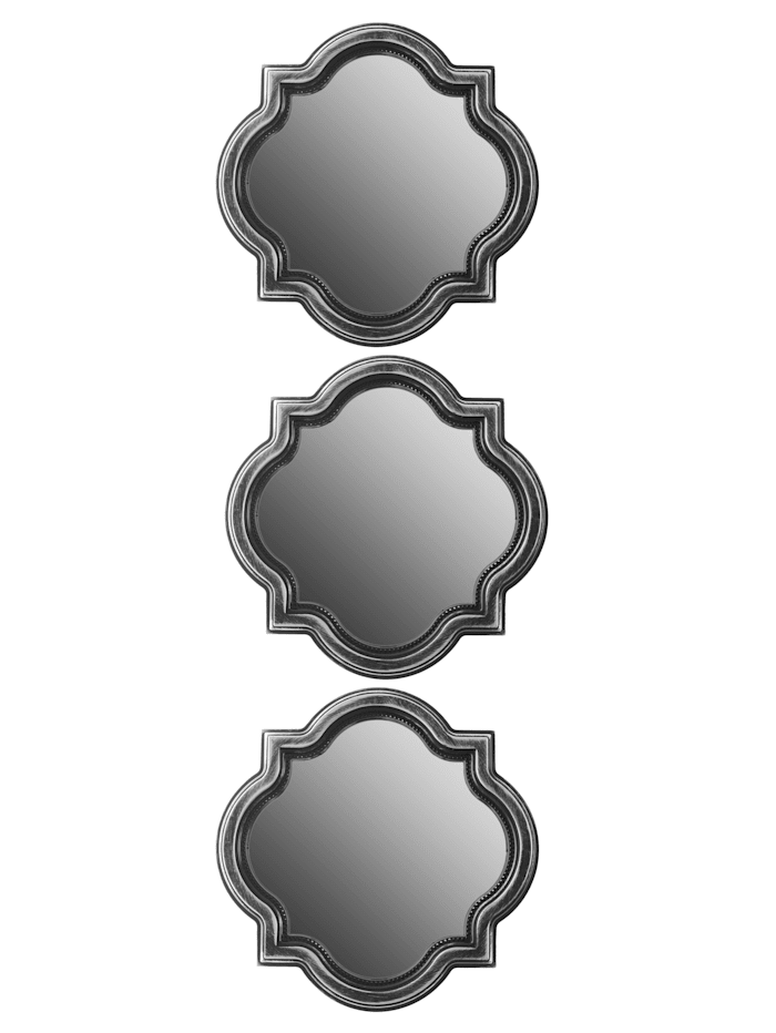 Wanddeko-Set Spiegel, 3tlg., schwarz