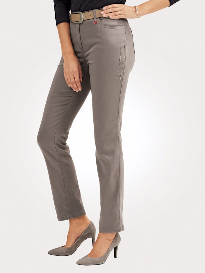 Relaxed by Toni Trousers with decorative details, Grey