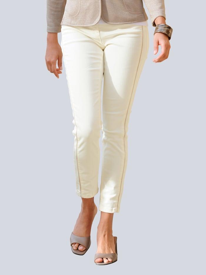 Alba Moda Jeans mit Galon-Streifen, Off-white/Goldfarben