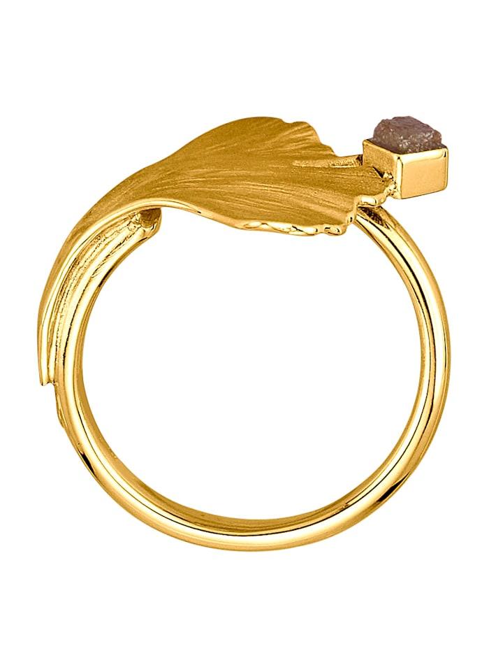 Ginkgo-Ring mit 1 Rohdiamant