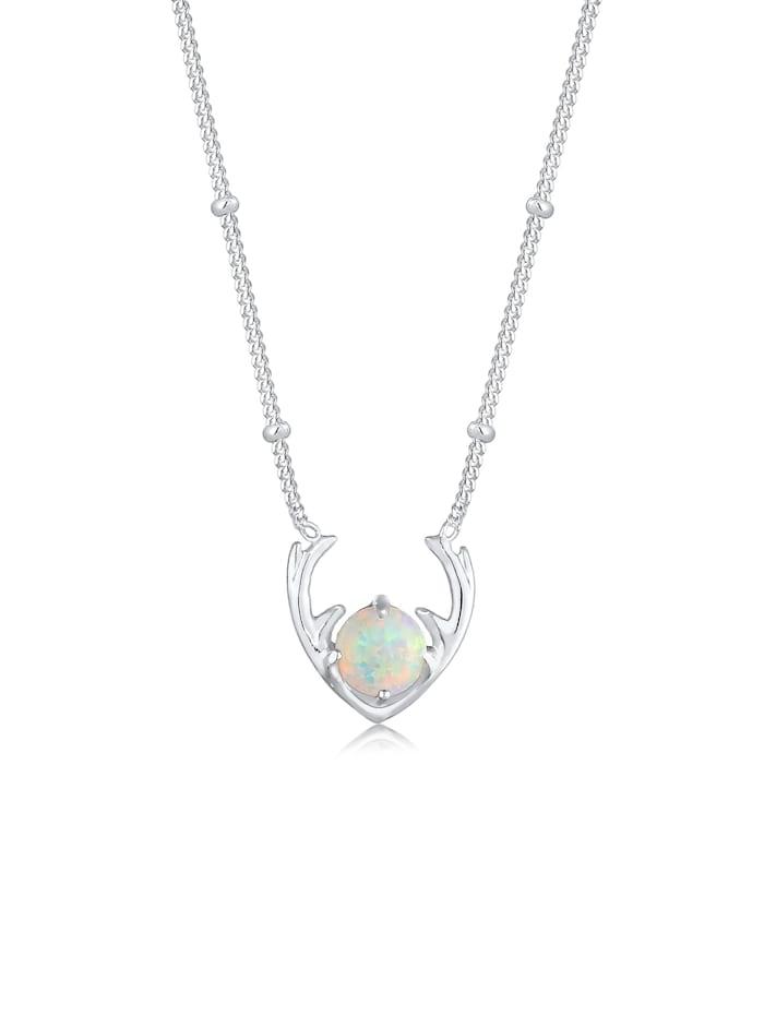 Elli Halskette Synthetischer Opal Rentier Geweih 925 Silber, Silber
