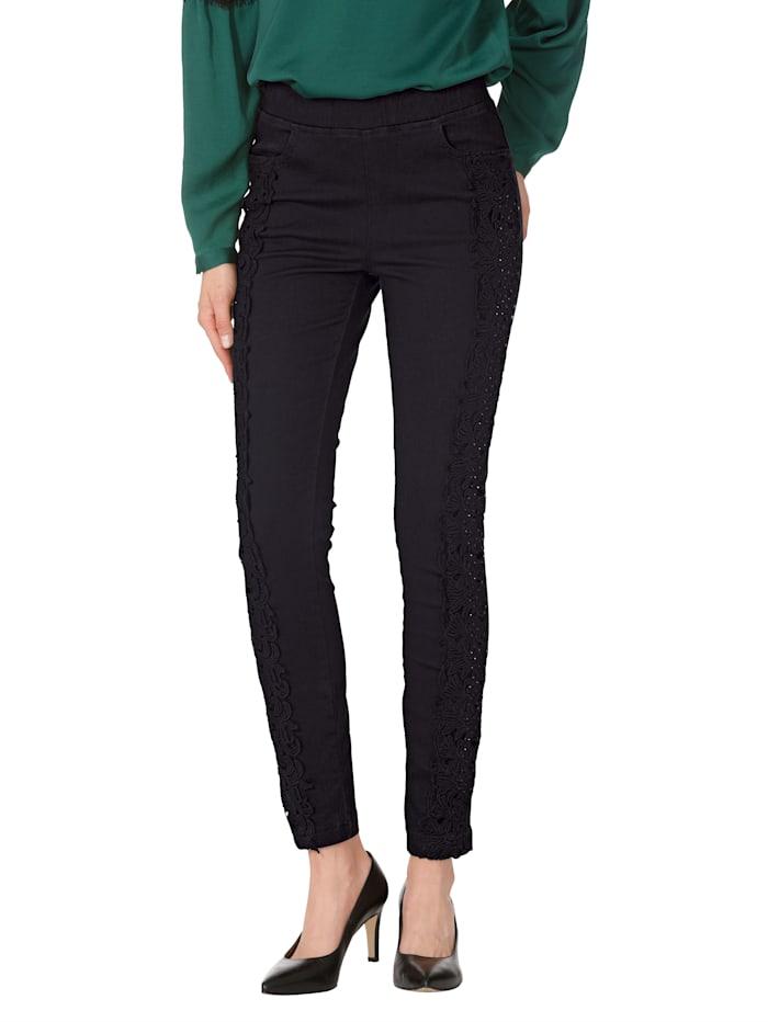 AMY VERMONT Jeans met kant en strassteentjes, Zwart