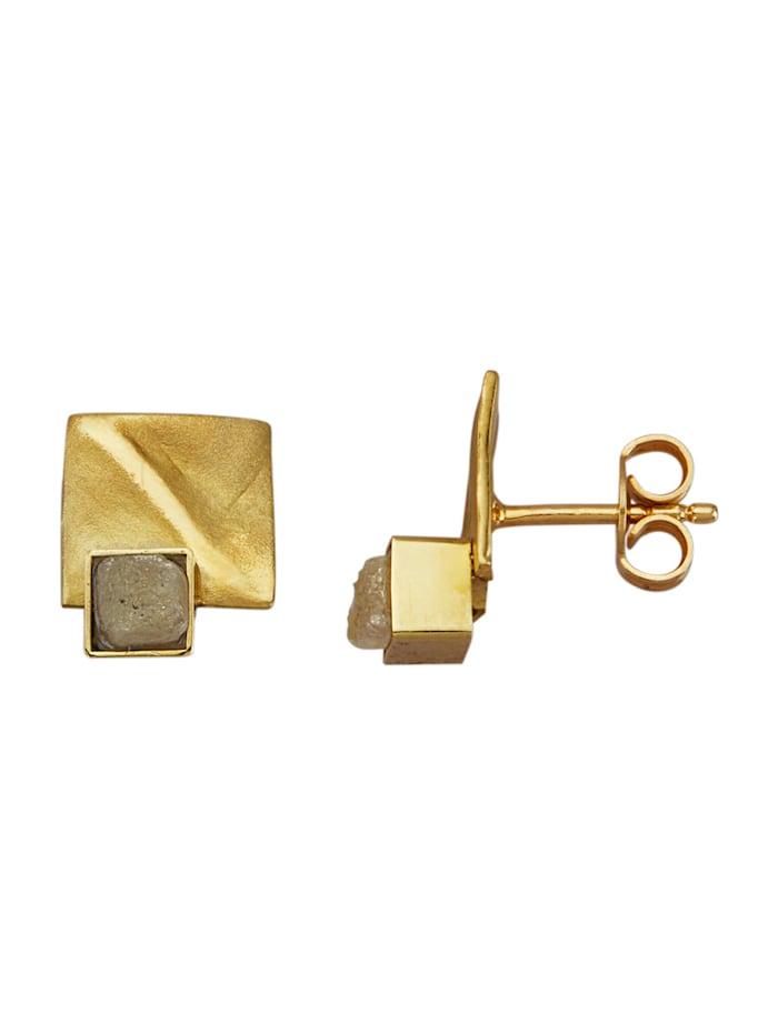 Diemer Atelier Ohrstecker mit Rohdiamanten, Gelbgoldfarben