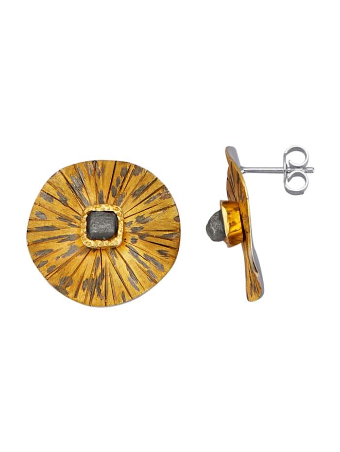 Amara Atelier Boucles d'oreilles avec 2 diamants bruts, Multicolore
