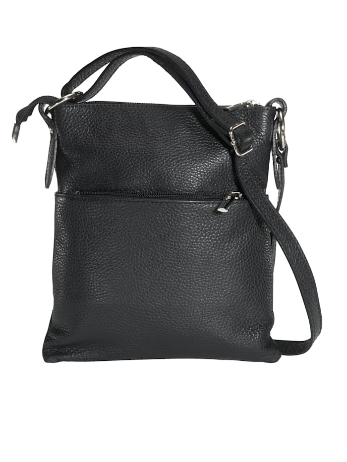Aimée Umhängetasche aus hochwertigem Leder, schwarz