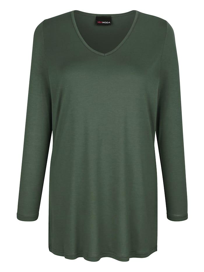 MIAMODA Shirt met flatterende V-hals, Kaki