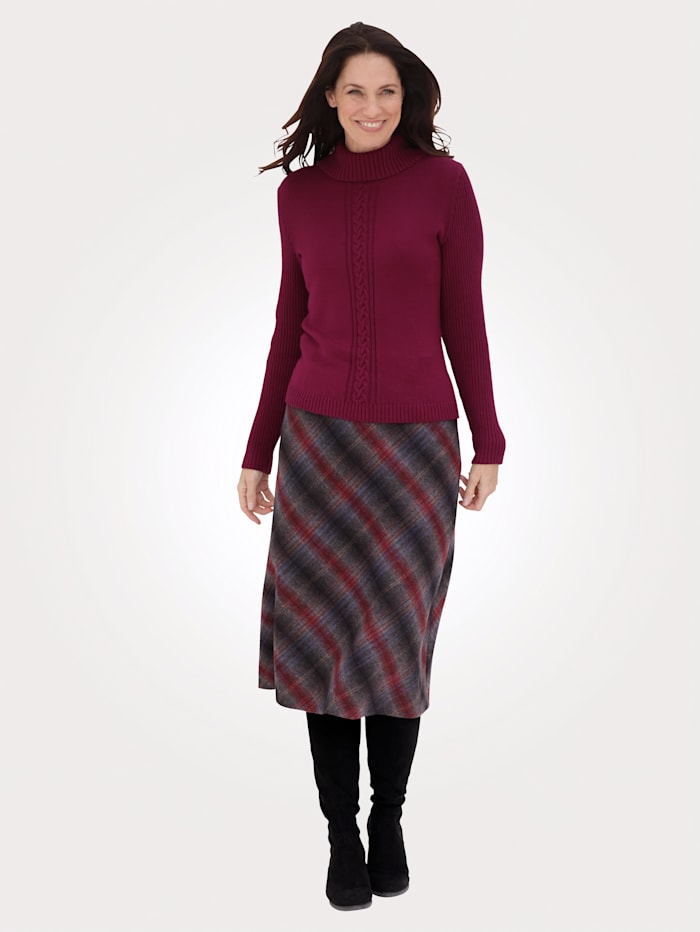 MONA Skirt with a check pattern, Grey/Bordeaux