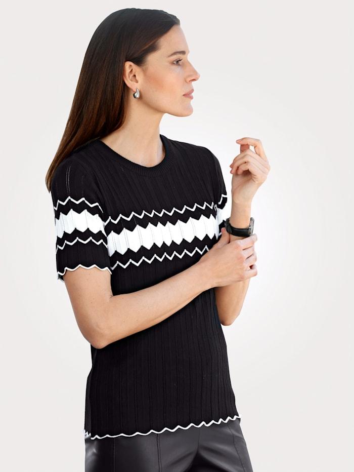 MONA Pullover mit feinem Ajour-Strick, Schwarz/Weiß