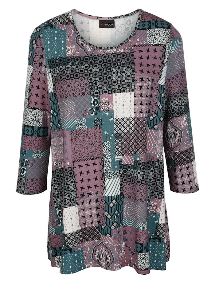 Shirt met patchworkprint