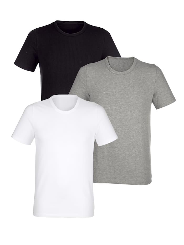 BABISTA Shirt met naaldtricot, Wit/Zwart/Grijs