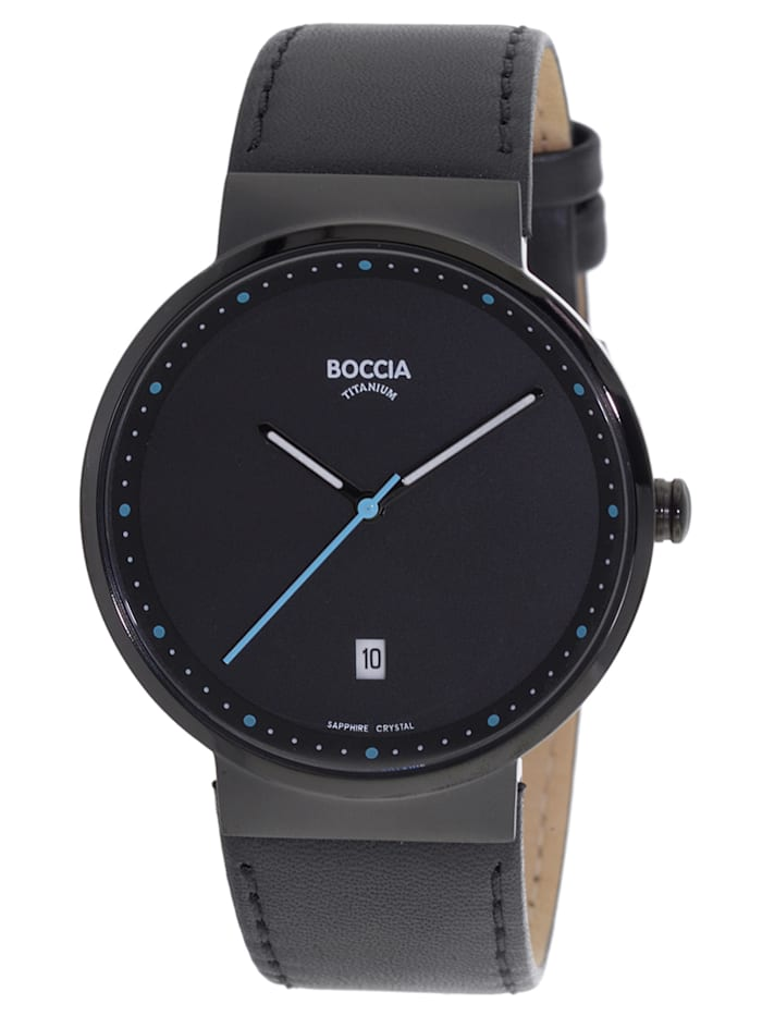 Boccia Titan-Armbanduhr mit Saphirglas, Schwarz