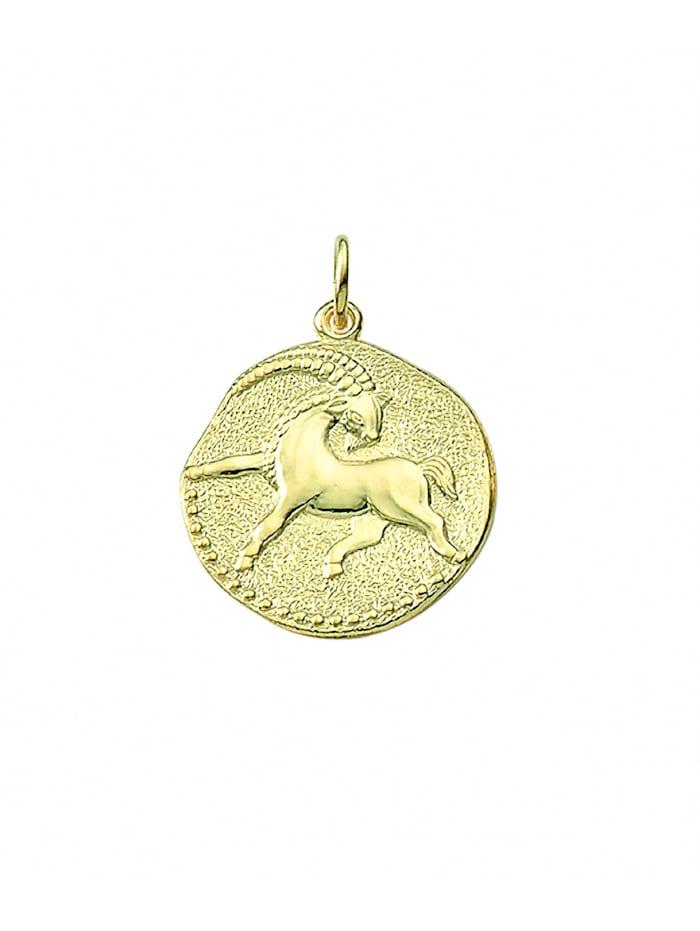 1001 Diamonds Damen & Herren Goldschmuck 333 Gold Sternzeichen Anhänger Steinbock Ø 18,2 mm, gold