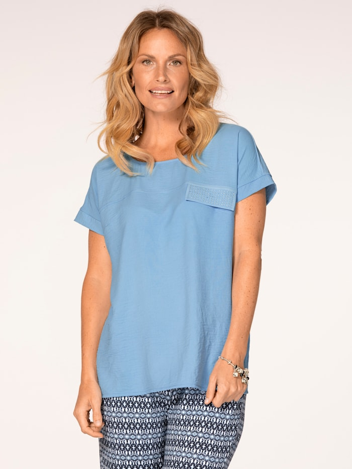 MONA Pull-on blouse with rhinestones, Light Blue