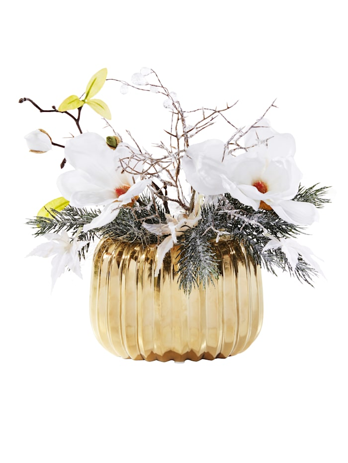 Magnolia-asetelma ruukussa / Tekokukka, valkoinen