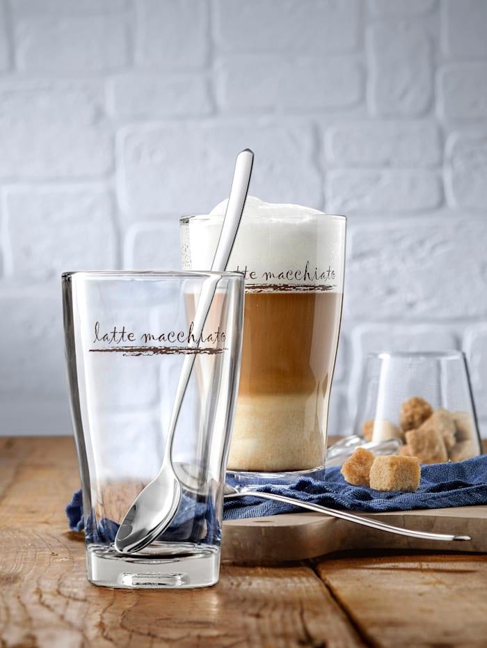 2 latte macchiato-glas med sked