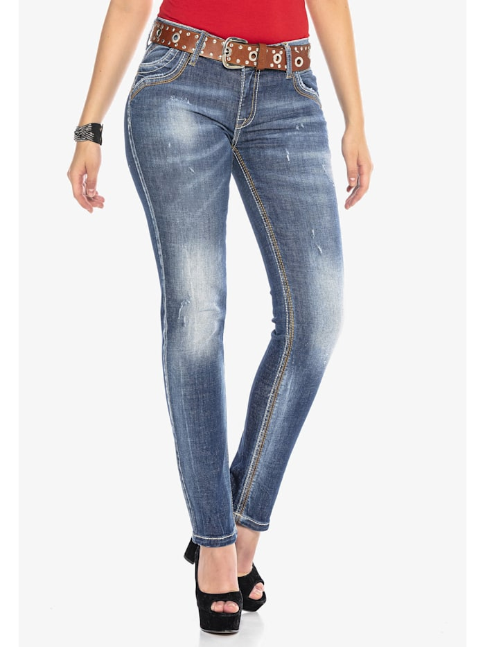 Cipo & Baxx Jeanshose mit kontrastfarbenen Nähten, BLUE