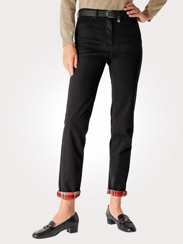Temperature-regulating Jeans with check turn-back hem