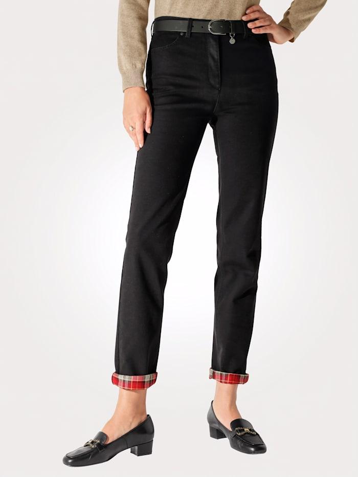 Toni Thermo-Jeans mit Karo-Aufschlag, Schwarz