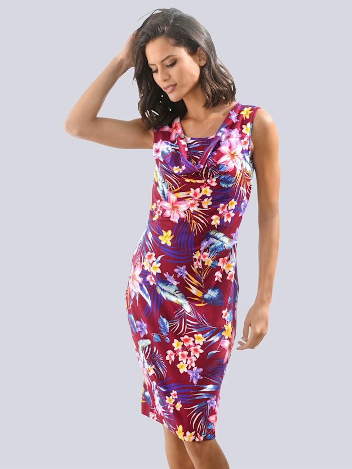 Alba Moda Strandkleid mit floralem Druck, Bordeaux
