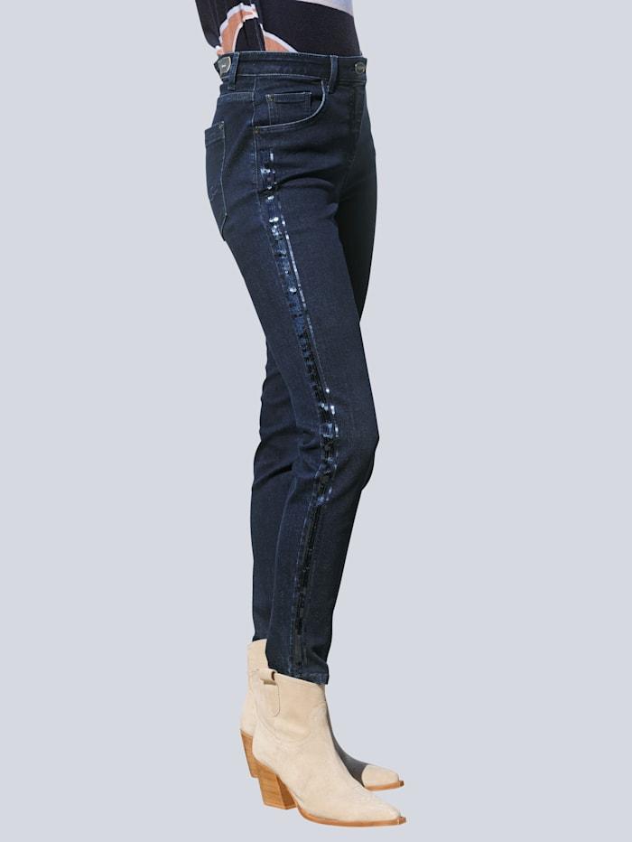 Alba Moda Jeans mit Galonstreifen und Zierplättchen, Blau