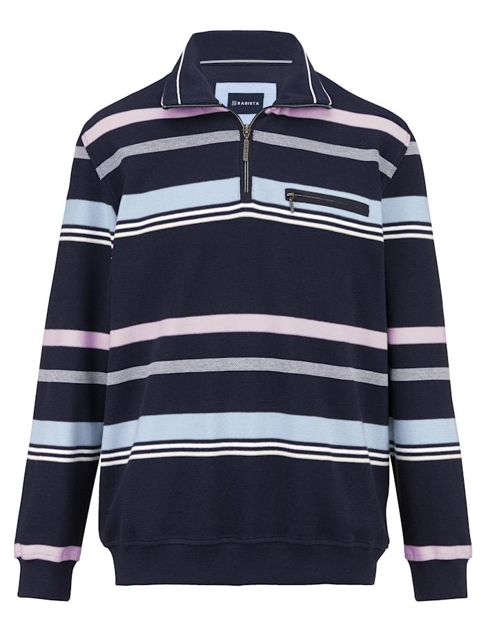 BABISTA Sweatshirt met streepdessin rondom, Marine/Roze
