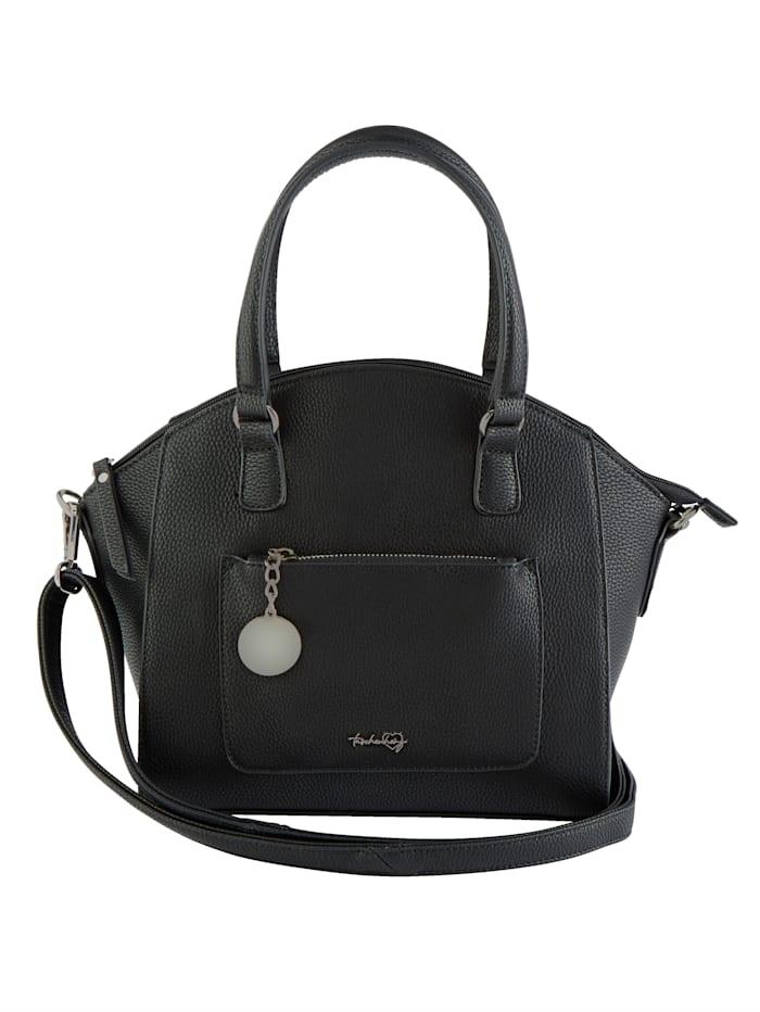 Taschenherz Handtasche mit Taschenherz-Anhänger, schwarz