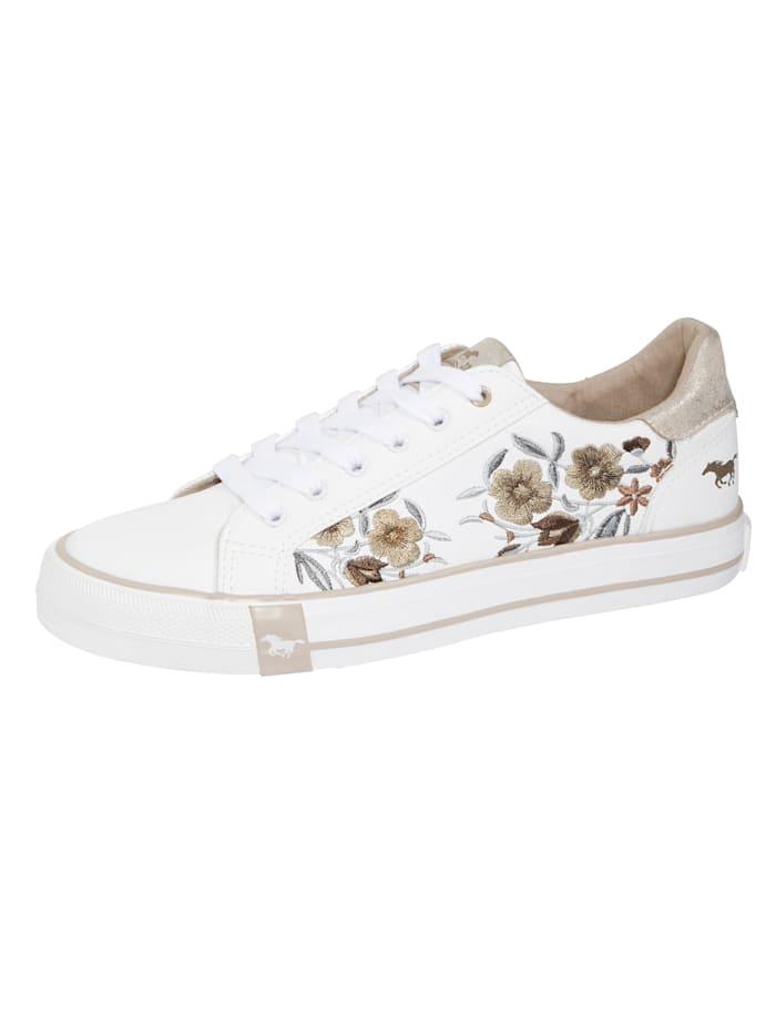 Mustang Sneaker mit wunderschöner floralen Stickerei, Weiß