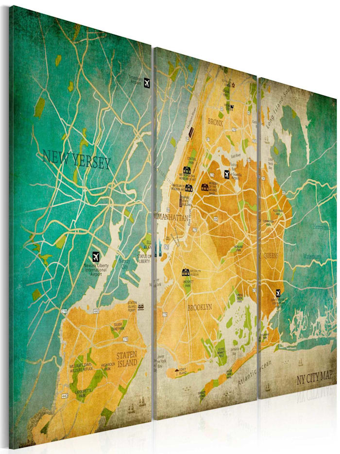 artgeist Wandbild Map of New York City's: neighborhoods, Beige,Braun,Türkis,Gelb