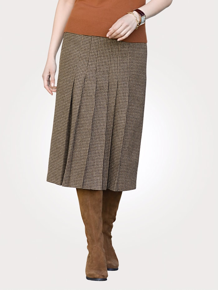 MONA Skirt with a houndstooth pattern, Black/Sand