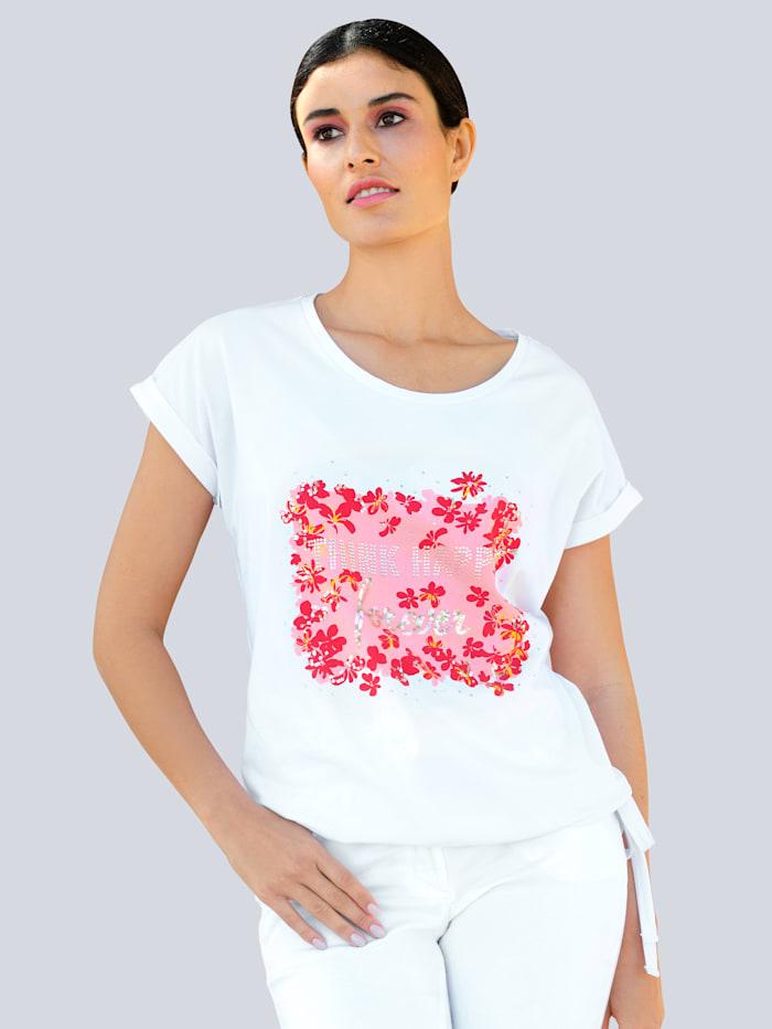 Alba Moda Shirt mit exklusivem Druckmotiv, Weiß/Pink