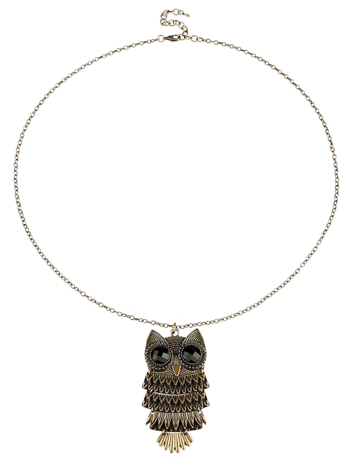 Hanger Uil met ketting, Zwart