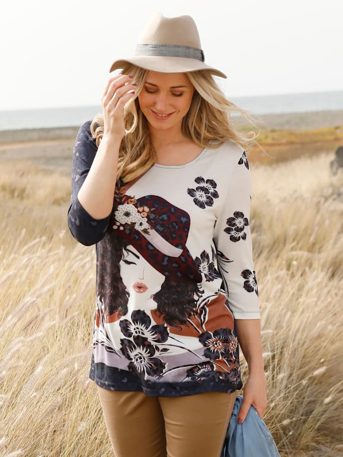 MIAMODA Shirt mit femininem Motiv im Vorderteil, Braun/Bordeaux/Marineblau