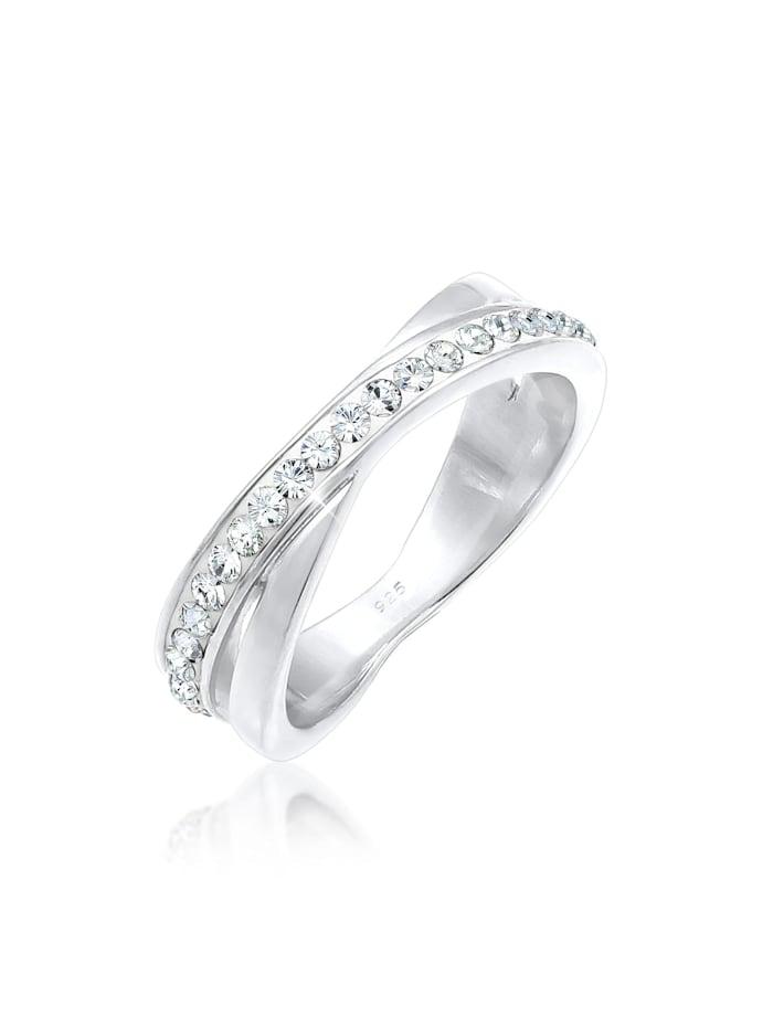 Elli Ring Wickelring Zart  Kristalle 925 Silber, Weiß