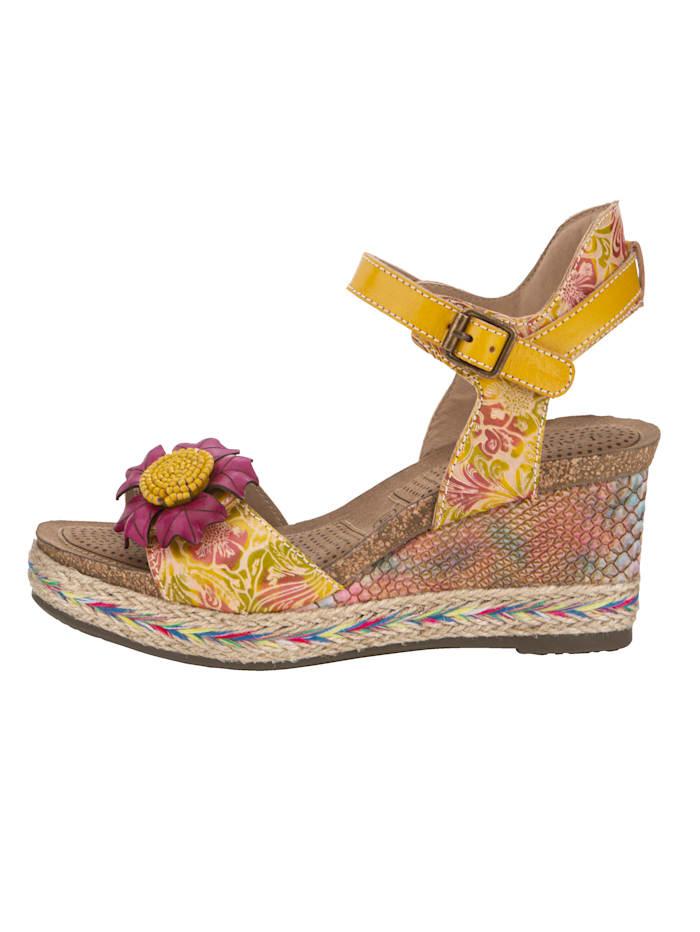 Sandales compensées avec application florale