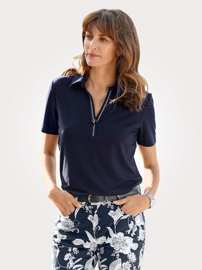 MONA Poloshirt mit Glanzband am Ausschnitt, Marineblau