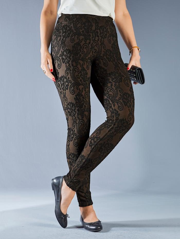 Leggings mit strukturiertem, floralem Muster allover