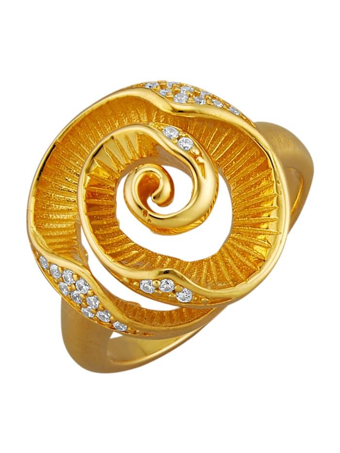 Diemer Trend Rosen-Ring in Rosenoptik, Gelbgoldfarben