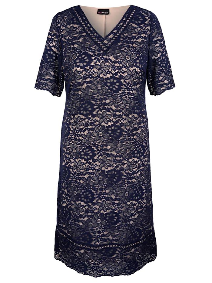 MIAMODA Čipkové šaty s kontrastnou podšívkou, Námornícka/Béžová
