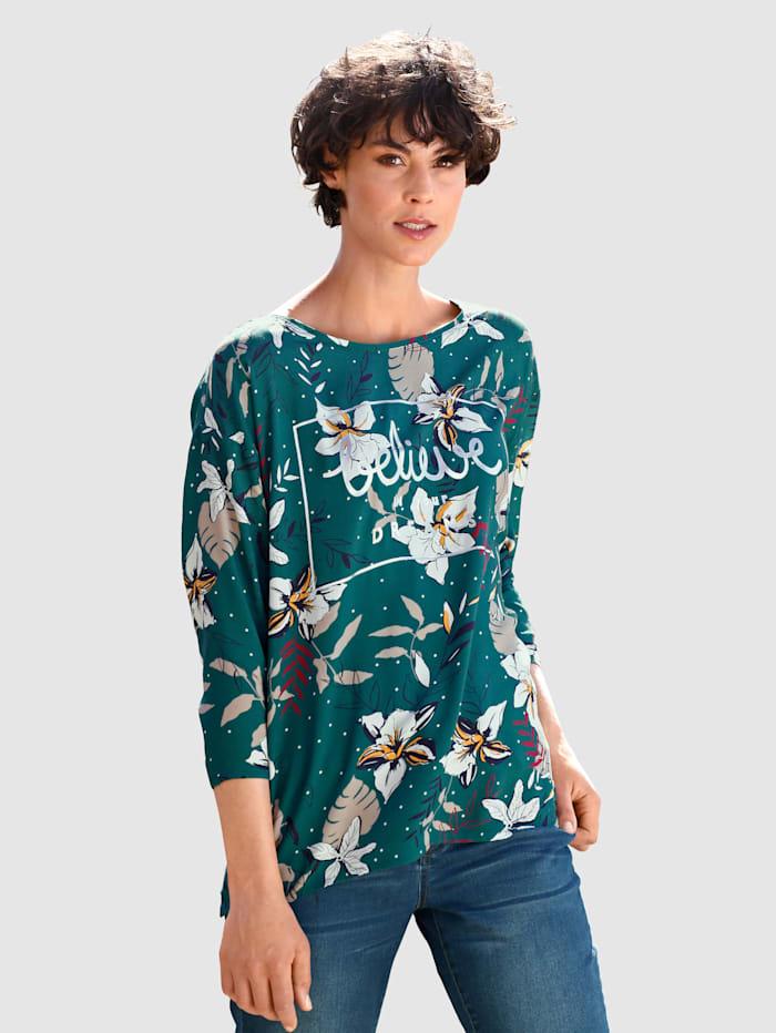 Dress In Bluse mit silbernem Schriftzug, Smaragd
