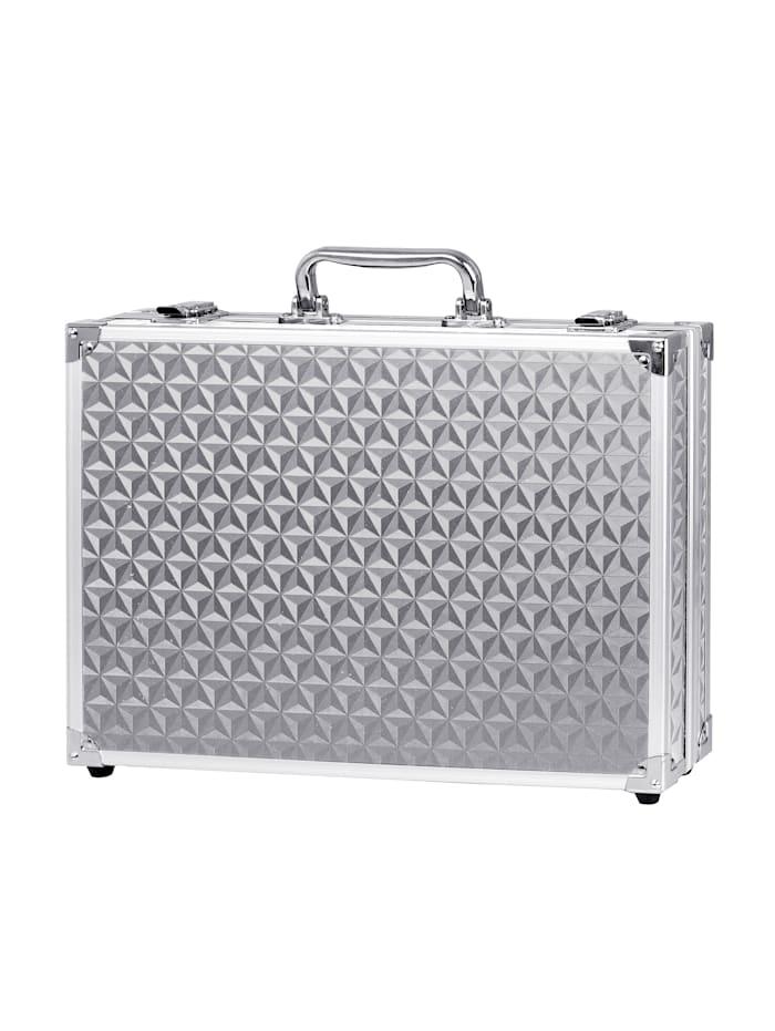 Make-upkoffer Van aluminium, met alles wat u voor een opgemaakte look nodig heeft