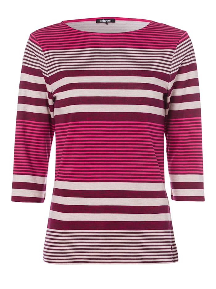 Olsen Rundhalsshirt mit Streifen, Raspberry