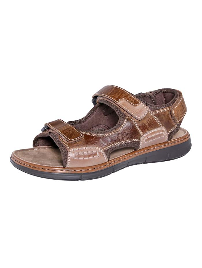 Sandaal met praktische klittenbanden, Bruin