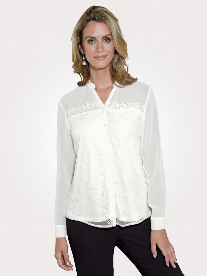 MONA Blouse with lace, Ecru