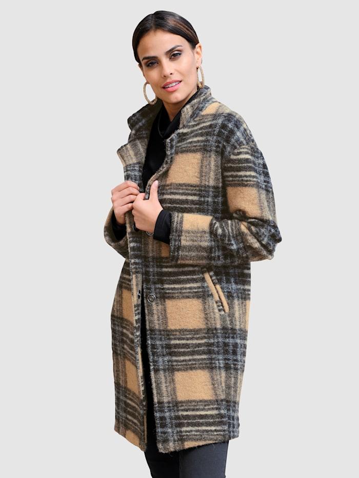 Alba Moda Kabát s károvaným vzorem, Velbloudí/Hnědá