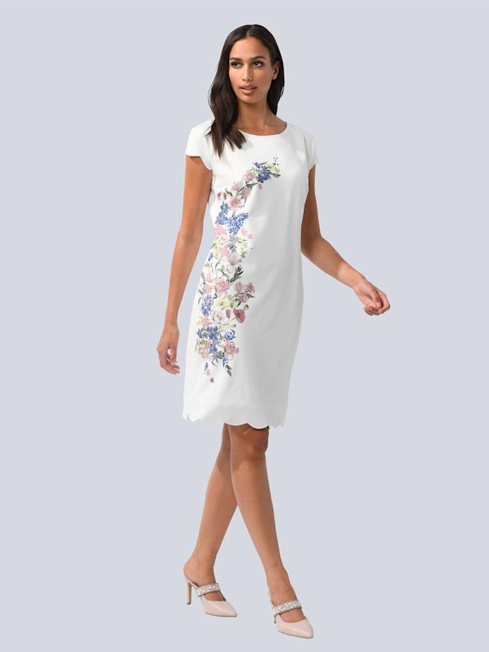 Alba Moda Kleid mit wellenförmigen Säumen, Off-white/Rosé